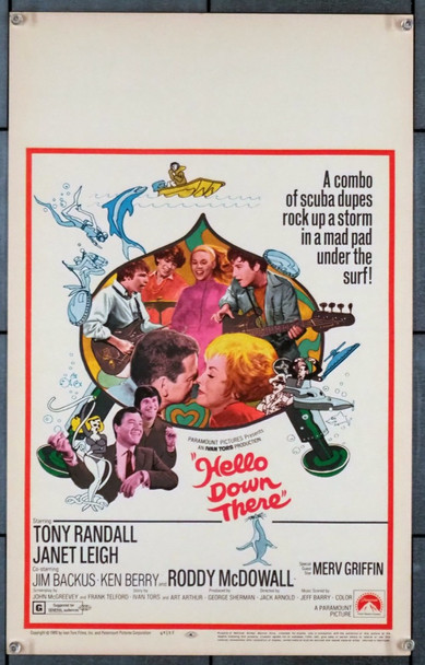 HELLO DOWN THERE (1969) 21924 Original Paramount Pictures Window Card (14x22).  Unfolded.  Very Fine.
