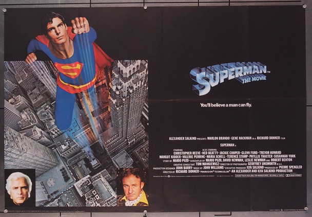 SUPERMAN  (1978)  27659 Warner Brothers Original British Quad Poster (30x40)  Folded  Fine Plus to Very Fine Condition