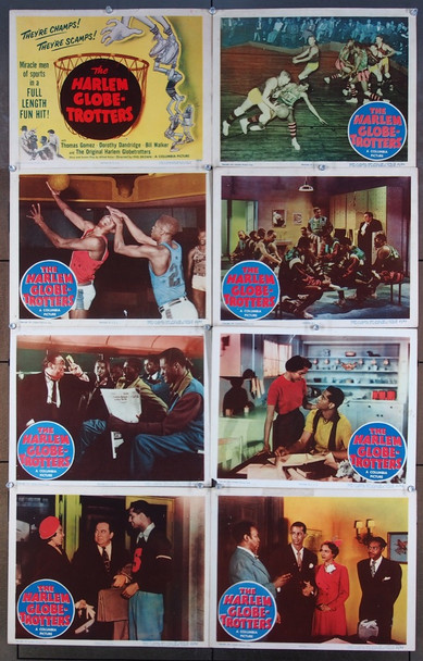 HARLEM GLOBETROTTERS (1951) 8279 Columbia Pictures Original U.S. Lobby Card Set  Eight individual cards   11x14  Good to Very Good Condition