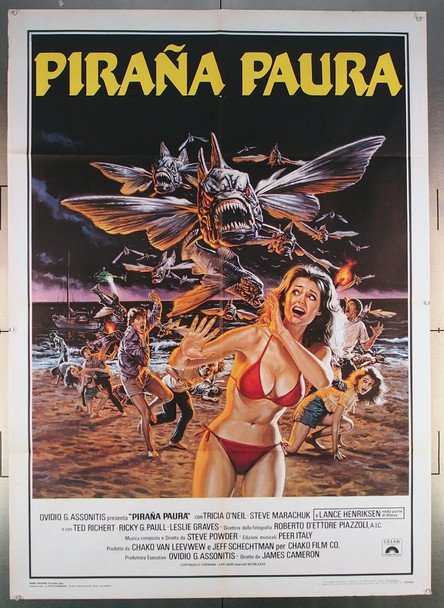 PIRANHA PART TWO: THE SPAWNING (1981) 27574 Columbia Pictures Original Italian 39x55 Poster  Folded  Fine Plus Condition