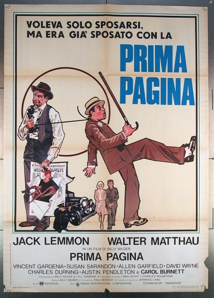 FRONT PAGE, THE (1974) 27571 Universal Original Italian 39x55  Folded   Fair to Good Condition