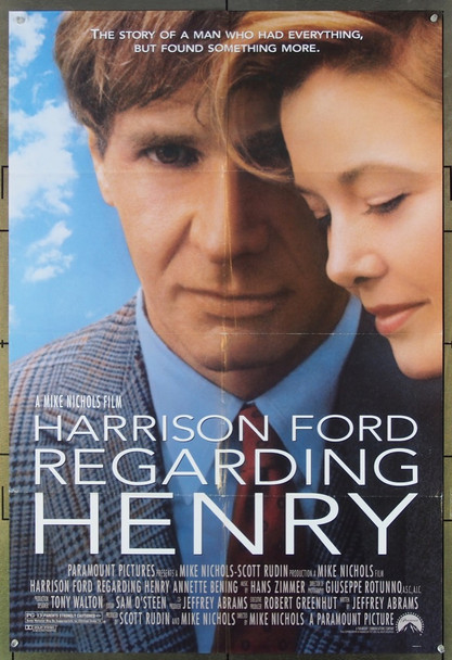 REGARDING HENRY (1991) 12184 Paramount Pictures Original U.S. One-Sheet Poster (27x41) Folded