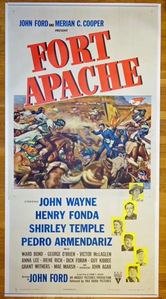 FORT APACHE (1948) 24352 RKO Radio Pictures Original Three Sheet Poster (41x81) Linen Backed  Fine Plus Condition