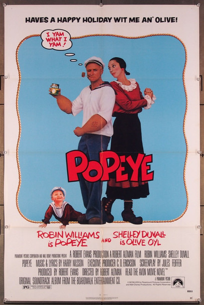 POPEYE (1980) 27302 Paramount Pictures Original U.S. One-Sheet Poster  (27x41)  Folded  Very Fine Condition
