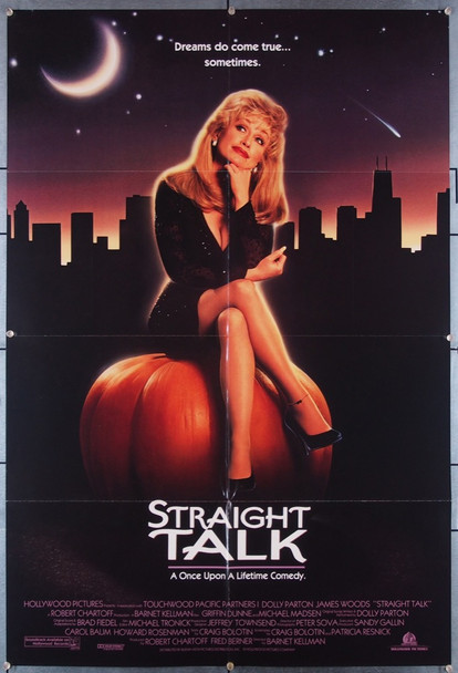 STRAIGHT TALK (1992) 27352 Hollywood Films Original U.S. One-sheet Poster (27x41) Folded  Very Fine  Condition
