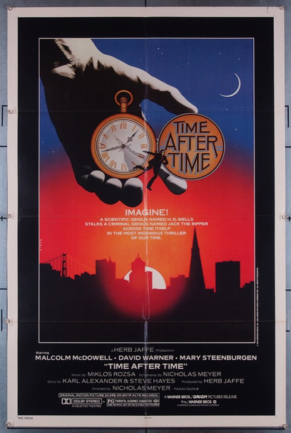 TIME AFTER TIME (1979) 27363 Warner Brothers Original U.S. One-Sheet Poster  Folded  Very Fine Condition
