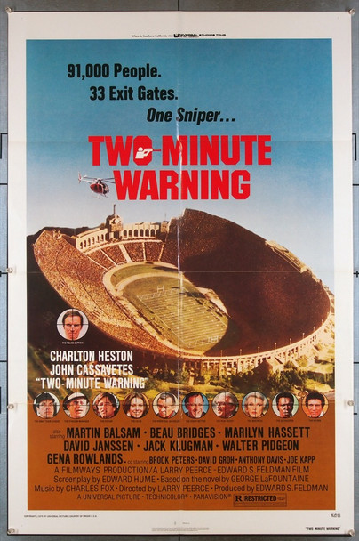 TWO-MINUTE WARNING (1976) 27368 Universal Pictures Original U.S. One-Sheet Poster (27x41) Folded  Very Fine Condition