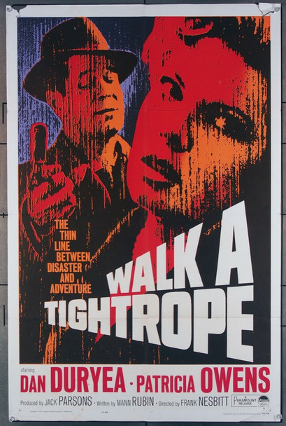 WALK A TIGHTROPE (1964) 11246 Paramount Pictures Original U.S. One-Sheet Poster (27x41) Folded  Average Used Good Condition