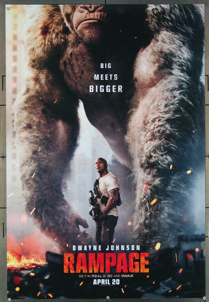 RAMPAGE (2018) 27678 ASAP Entertainment Original U.S. One-Sheet Poster  (27x40)  Rolled  3D Advance Poster