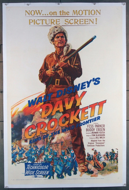 DAVY CROCKETT, KING OF THE WILD FRONTIER (1955) 26074 Walt Disney Company Original One-Sheet Poster (27x41) Linen-Backed  Fine Plus Condition