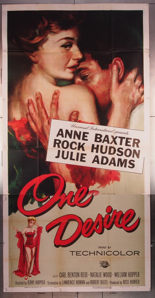 ONE DESIRE (1955) 27730 Universal Pictures Original U.S. Three Sheet Poster (41x81)  Folded  Very Fine Condition