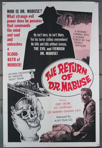 IM STAHINETZ DES DR. MABUSE (1961) 6606 Re-release poster U.S. One-Sheet  Release of 1967  Very Fine Condition  27X41 Folded