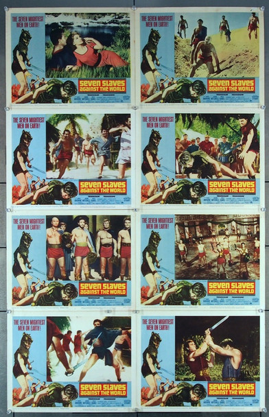 SEVEN SLAVES AGAINST THE WORLD (1965) 8392 Paramount Pictures Original U.S. Lobby Card Set   Eight individual 11x14 cards  Average Used Condition  Very Good