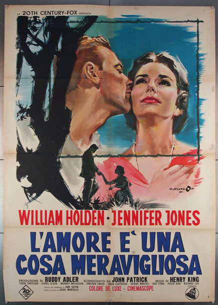 LOVE IS A MANY-SPLENDORED THING (1955) 27739 20th Century Fox Original Italian Two Foglio Poster (39x55)  Folded  Very Good Plus Condition  Art by Cesselon