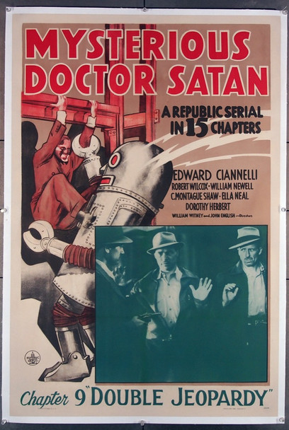 MYSTERIOUS DOCTOR SATAN (1940) 9363 Republic Studios Original U.S. One-Sheet Poster (27x41) Chapter 9  Linen-Backed  Fine Plus Condition