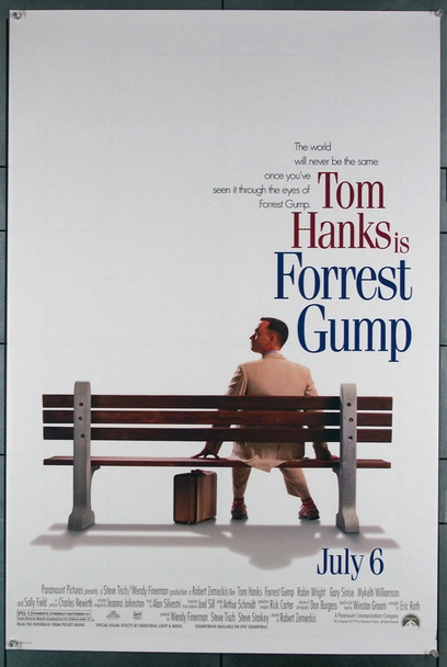 FORREST GUMP (1994) 6870 Paramount Pictures Original U.S. Teaser or Advance One-Sheet  Rolled  27x41  Very Fine Condition