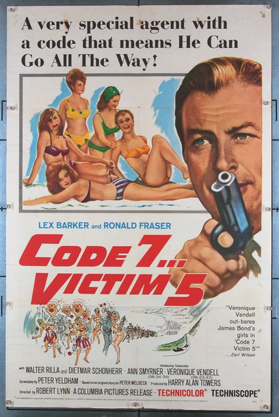 CODE 7 VICTIM 5!  (1964) 3576 British Lion Films Original U.S. One-Sheet Poster (27x41) Folded  Good Condition Only
