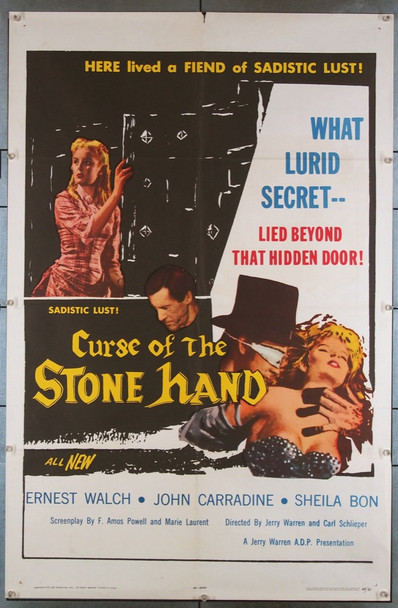 CURSE OF THE STONE HAND (1965) 3329 ADP Original U.S. One-Sheet Poster (27x41) Folded  Very Fine