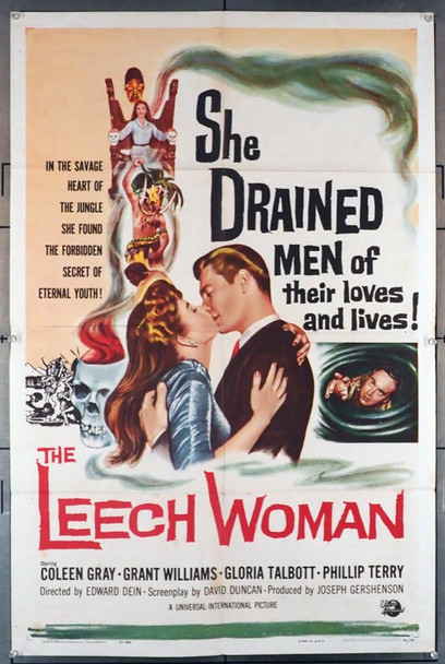 LEECH WOMAN, THE (1960) 3325 Universal PIctures Original U.S. One-Sheet Poster (27x41) Folded  Fine Condition