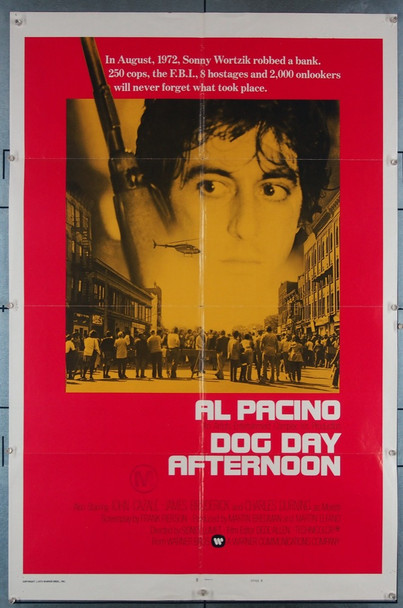 DOG DAY AFTERNOON (1975) 14831 Warner Brothers Original International Style B One-Sheet Poster (27x41) Folded  Very Good Condition