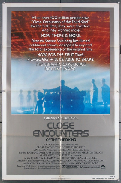 CLOSE ENCOUNTERS OF THE THIRD KIND (1977) 27142 Columbia Pictures Original U.S. One-Sheet (27x41) Folded  Very Fine Re-release of 1980