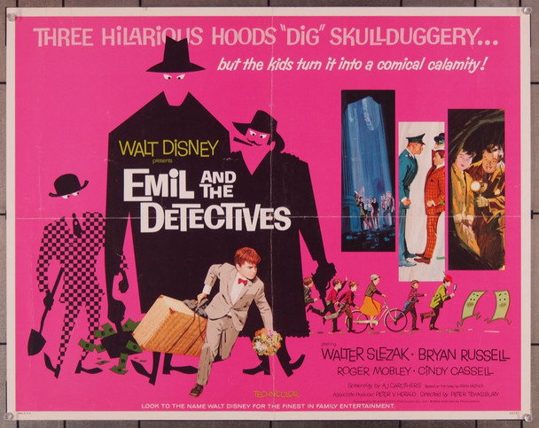 EMIL AND THE DETECTIVES (1964) 27794 Walt Disney Company Original U.S. Half Sheet Poster (22x28) Folded  Very Good Plus