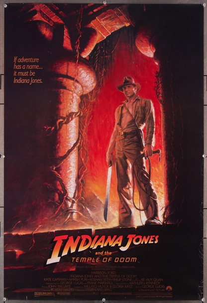 INDIANA JONES AND THE TEMPLE OF DOOM (1984) 27818 Paramount Pictures Original U.S. One-Sheet Poster Style A Rolled  Very Fine Condition