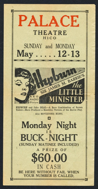 LITTLE MINISTER, THE (1934) 15513 Vintage Theater Herald or Handbill (9x4) Fine Plus Condition