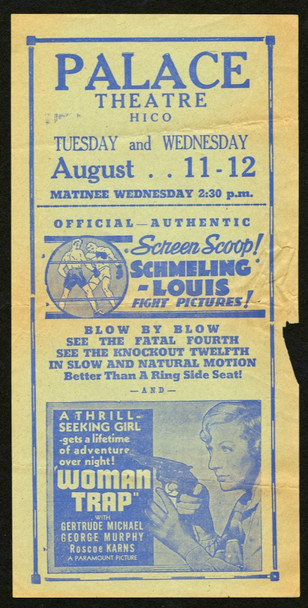 WOMAN TRAP (1936) 15520  SCHMELING-LOUIS BOXING FILMS WOMAN TRAP (1936) 15520 Herald with SCHMELING-LOUIS BOXING FILMS (1936) VERY GOOD PLUS CONDITION