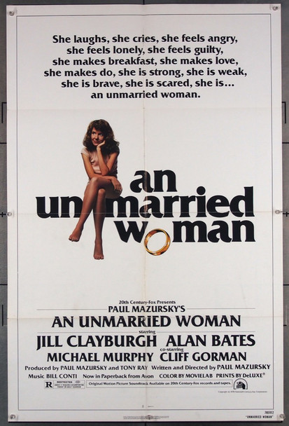 UNMARRIED WOMAN, AN (1978) 7105 20th Century Fox Original U.S. One-Sheet Poster (27x41) Folded  Fine Plus Condition