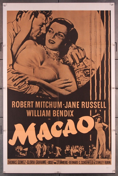 MACAO (1952) 6997 Military One-Sheet Poster (27x41) Folded  Very Fine Condition