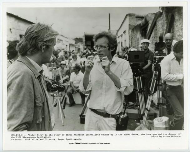 UNDER FIRE (1983) 19303 Gelatin Silver Print  Set photography of director Roger Spottiswoode  Very Fine