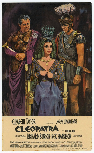 CLEOPATRA (1963) 13619 20th Century Fox Spanish Handbill  (4x7 inches)  Very Fine, Very Petite!