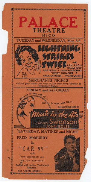 LIGHTNING STRIKES TWICE (1934) 15511 RKO Theater Handbill (9x4) Herald