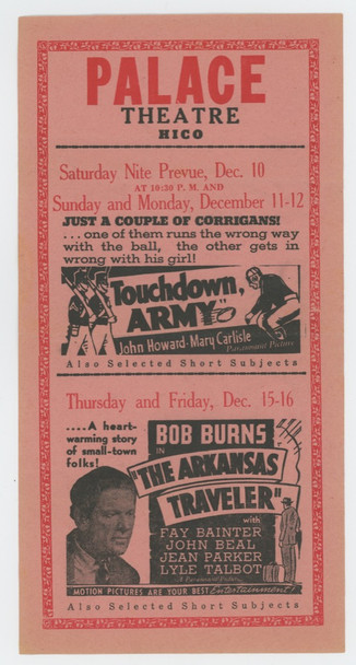 TOUCHDOWN, ARMY (1938) 15517 Paramount Pictures Original Theater Handbill or Herald (9x4 inches)  Fine Plus