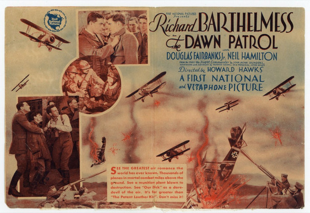 DAWN PATROL, THE (1932) 21650 First National Pictures Original Theater Handbill or Herald  (4x6 inches)  Very Good Plus Condition