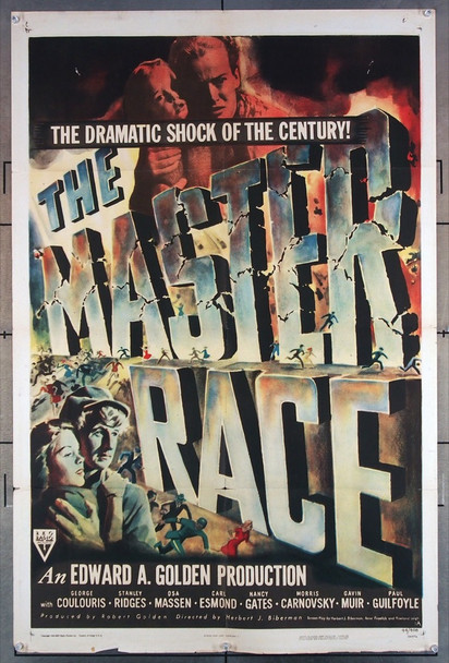 MASTER RACE, THE (1944) 2908 RKO Original U.S. One-Sheet Poster (27x41) Folded  Good Condition Only  Average Used