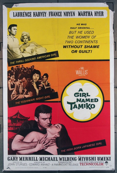 GIRL NAMED TAMIKO, A (1962) 15479 Paramount Pictures Original U.S. One-Sheet Poster  (27x41) Folded  Good Condition  Average USED