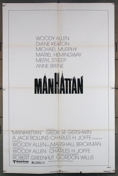 MANHATTAN (1979) 1838 United Artists Original One-Sheet Poster (27x41) Folded  Average Used Condition