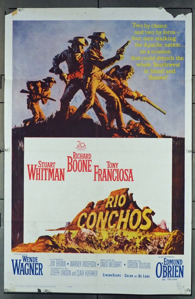 RIO CONCHOS (1964) 1920 20th Century Fox Original U.S. One-Sheet Poster (27x41) Folded  Average Used Condition