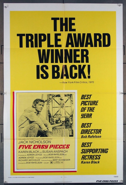 FIVE EASY PIECES (1970) 2071 Columbia Pictures Original U.S. One-Sheet Poster  Re-release of 1973  Folded  Fine Condition