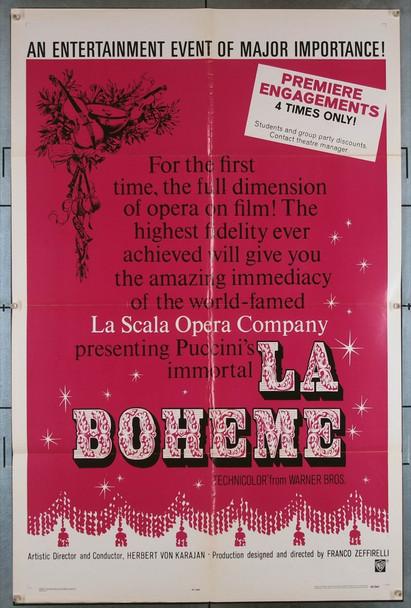 LA BOHEME (1965) 738 Original Warner Brothers One Sheet Poster (27x41).