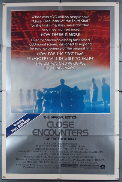 CLOSE ENCOUNTERS OF THE THIRD KIND (1977) 1190 Original Columbia Pictures One Sheet Poster (27x41).  Folded.  Very Fine.