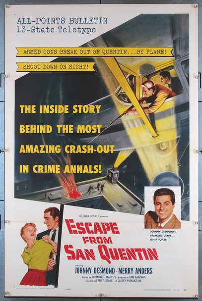 ESCAPE FROM SAN QUENTIN (1957) 2157 Columbia PIctures Original U.S. One-Sheet Poster (27x41) Folded  Very Fine Condition