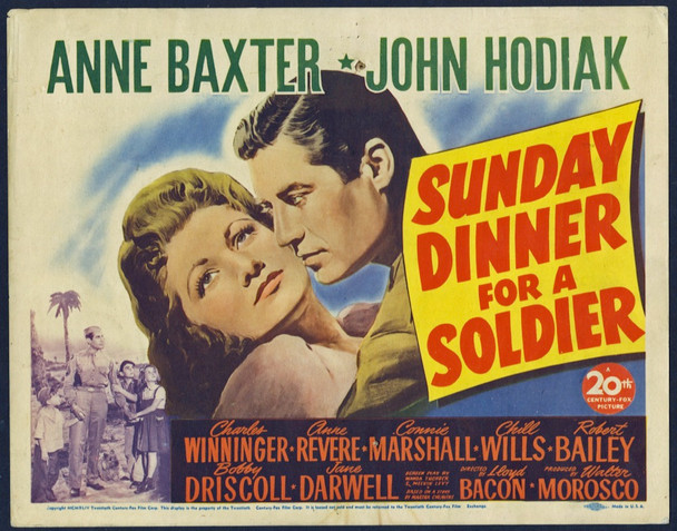 SUNDAY DINNER FOR A SOLDIER (1944) 8871 20th Century Fox Original Title Lobby Card (11x14) Good Plus Condition