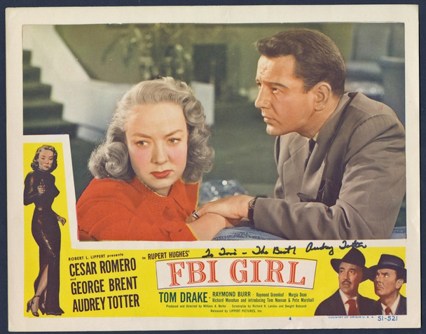 F. B. I. GIRL (1951) 27881 Lippert Pictures Original Scene Lobby Card (11x14) Signed by Audrey Totter