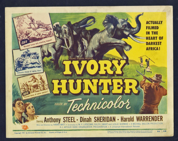 IVORY HUNTER (1952) 8869 Universal Pictures Original U.S. Title Lobby Card (11x14) Fine Plus