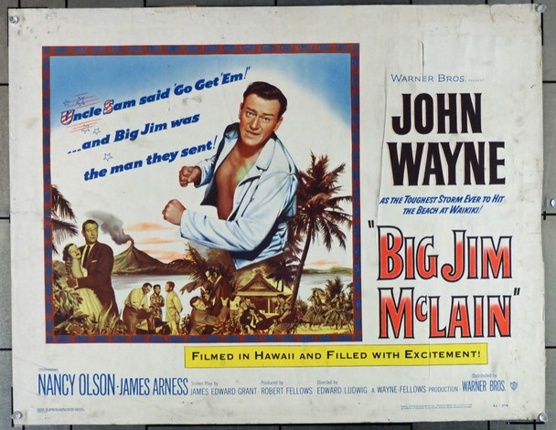 BIG JIM MCLAIN (1952) 27930 Warner Brothers Original U.S. Half-Sheet Poster (22x28) Fair to Good Condition  Theater-Used