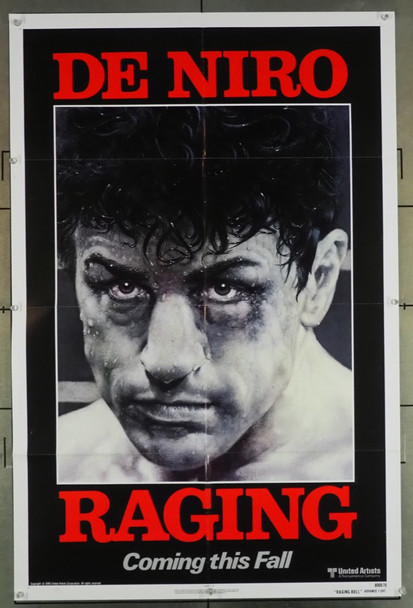 RAGING BULL (1980) 1482 Original United Artists Advance One Sheet Poster (27x41).  Folded.  Very Fine Plus.