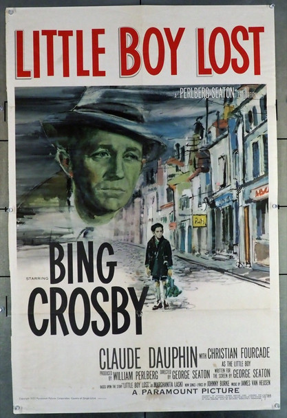 LITTLE BOY LOST (1953) 14066 Paramount PIctures Original U.S. One-Sheet Poster (27x41) Folded  Good Condition